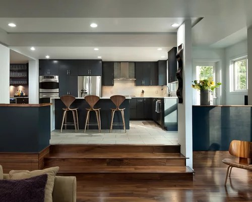 L Shaped Kitchen Open Living Room