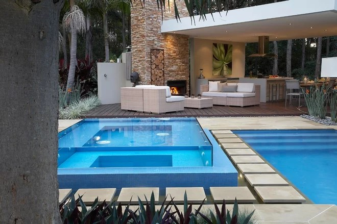 Contemporary Pool by Dean Herald-Rolling Stone Landscapes