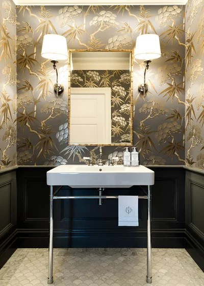 Traditional Powder Room by Karen Aston Design