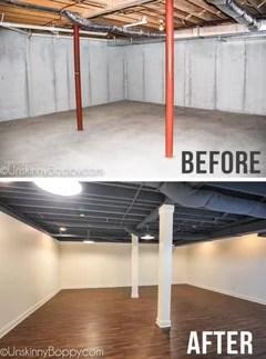 unfinished basement ceilings paint color