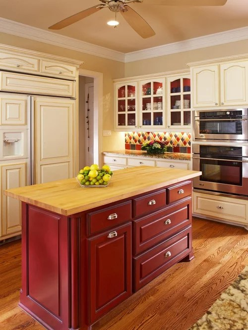 Traditional Kitchen Idea In Dallas With Glass Front Cabinets Wood Countertops And Red