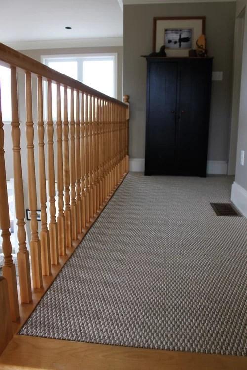 Advice Needed On Wood Or Carpet For Staircase Landing | Carpet Landing Wooden Stairs | Patterned | Builder Grade | Light Wood | Red Oak Wood | Hardwood