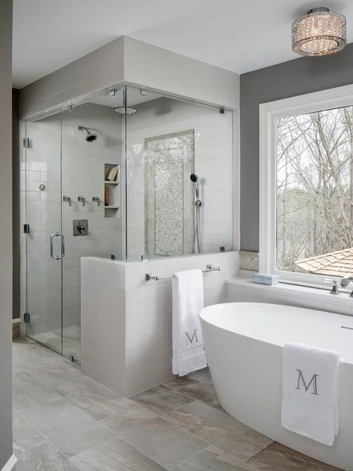 Inspiration For A Large Transitional Master Gray Tile And Ceramic Tile Porcelain Floor And Gray Floor
