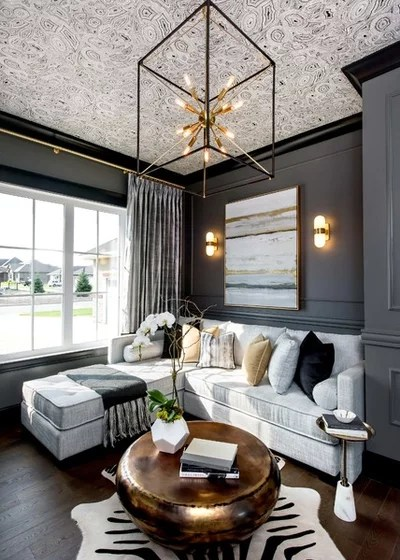 Transitional Living Room by Metrie