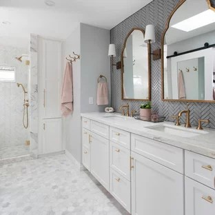 Most Popular Bathroom Design Ideas   Remodeling Pictures   Houzz Example of a mid sized transitional master gray tile and glass tile marble  floor and