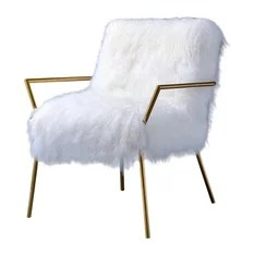 Bagley Wool and Brass Accent Chair Gold