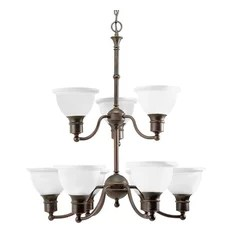 Progress Lighting P4283 20 9 Light Chandelier With Etched Glass Bell