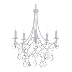 5 Light White Wrought Iron Crystal Chandelier Country French Chandeliers