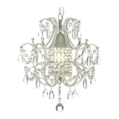 Gallery 1 Light Wrought Iron And Crystal Chandelier White Chandeliers
