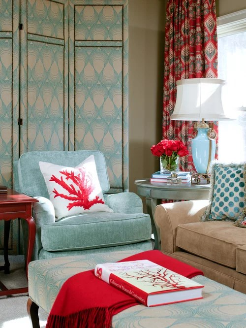 Turquoise And Red Livingroom Houzz