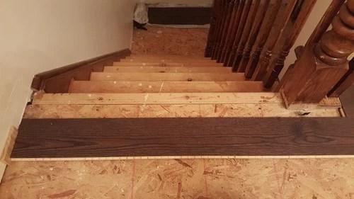Stair Landing From Engineered Stair Kit Tread   Engineered Wood Stair Treads   Platform   Modern White Oak Stair   Engineered Hardwood   Wood Plank   Plywood
