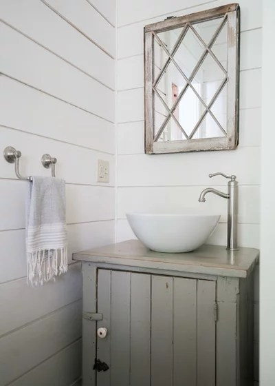 Farmhouse Powder Room by Crowell Construction Inc