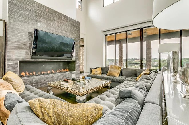 Contemporary Living Room by M the Builders