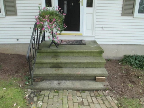 Covering A Concrete Stoop With Wood | Wood Stairs Over Concrete | Stair Stringers | Cement | Concrete Slab | Patio | Build