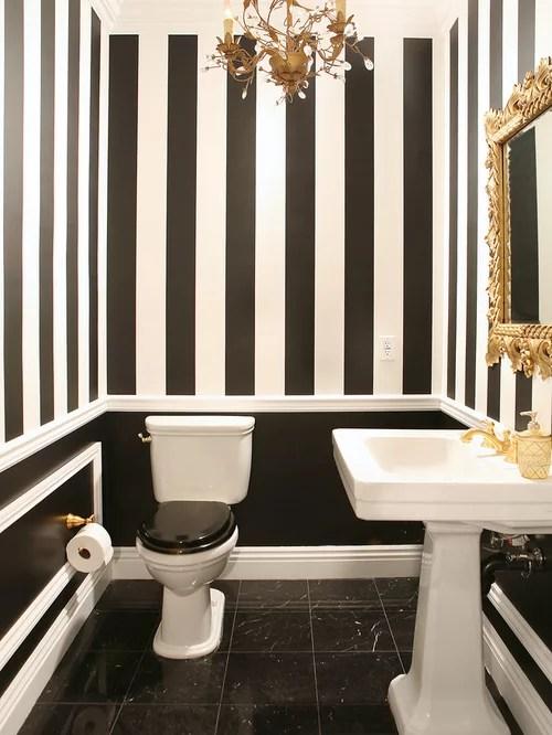 Black white striped wallpaper houzz