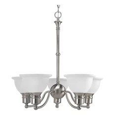 Progress Lighting 5 Light Chandelier Brushed Nickel With Etched Bell Shaped Shades