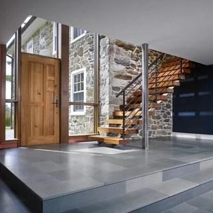 Front Entrance Stair Houzz | Front Door Stairs Design | Main Door Stair | 2Nd Floor | Villa | Brick | Residential