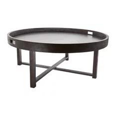 Dimond Home Round Teak Coffee Table Tray Black