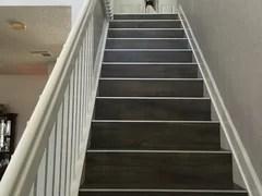 porcelain tile on staircase treads