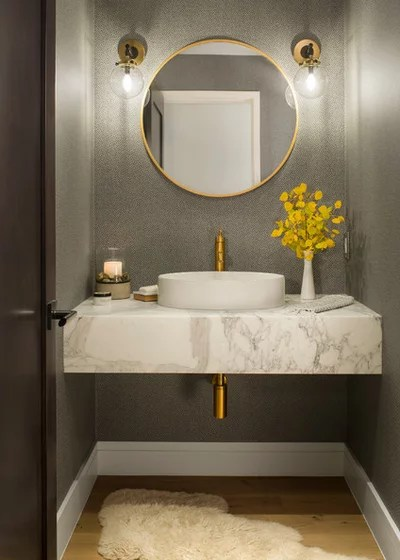 Transitional Powder Room Contemporary Powder Room