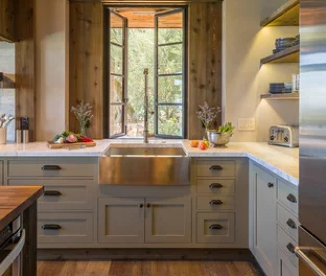 Mid Sized Rustic Kitchen Ideas Mid Sized Mountain Style L Shaped Medium Save Photo