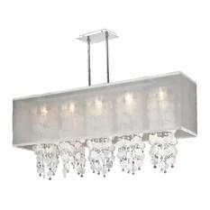 Glow Lighting 44 W Rectangular Shaded Capiz Shell And Crystal Chandelier Omni 627k
