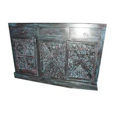 Mogul interior - Consigned Sideboard Chest Bastar Tribal Old World Hand Carved Furniture - Create the ambience of an old country cottage with the richly painted wood sideboard.