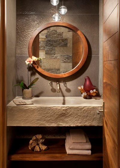 Rustic Powder Room by Suman Architects