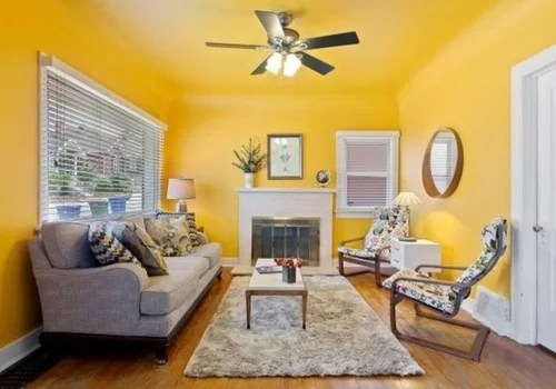 Rental Home With Yellow Livingroom Walls