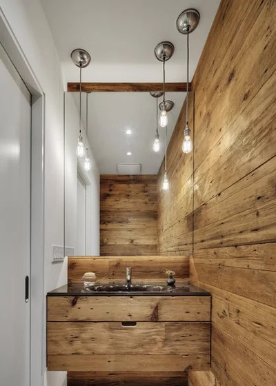 Contemporary Powder Room by Blender Architecture LLC
