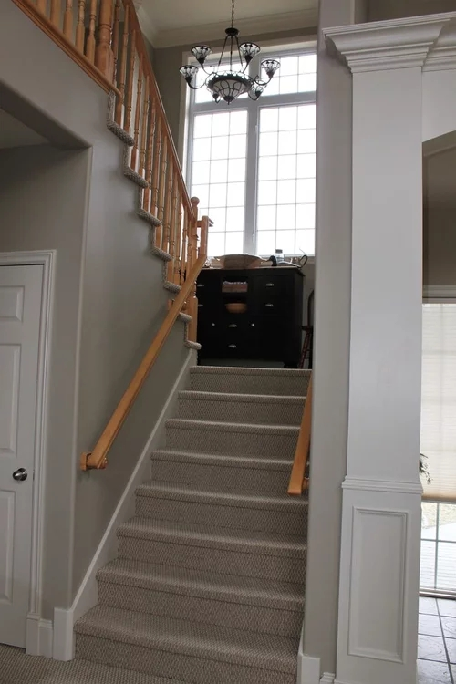 Advice Needed On Wood Or Carpet For Staircase Landing | Hall Stairs Landing Carpet | Colour | Stair Turn | Wood Floor Hallway Str*P | Twist Pile | Runners