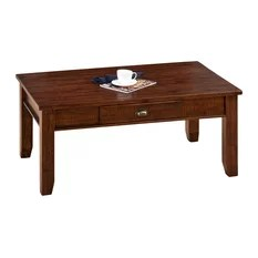 Jofran Urban Lodge Rectangle Cocktail Table with Drawer in Antique Brown