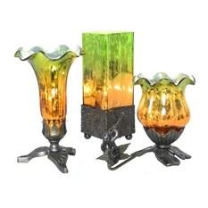 Set of 3 Rectangular Studio Art Trumpeting Cherub Tulip Uplight Accent Lamps