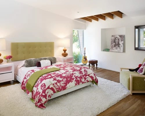 Beige Rug With Traditional Bed Designs In Italian Bedroom And Wooden Bedside Table