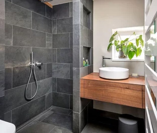 Bathroom Small Contemporary   Gray Tile And Slate Tile Slate Floor And Gray