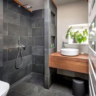 Bathroom Small Contemporary   Gray Tile And Slate Tile Slate Floor And Gray