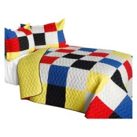 Delicate Plaid - C 3PC Cotton Vermicelli-Quilted Patchwork Plaid Quilt Set-Full/