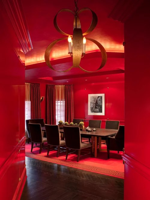 Red Dining Room Houzz