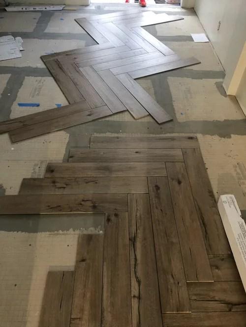 herring bone kitchen floor tile at 45