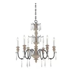 Savoy House Madeliane 6 Light Chandeliers Distressed White Wood And Iron