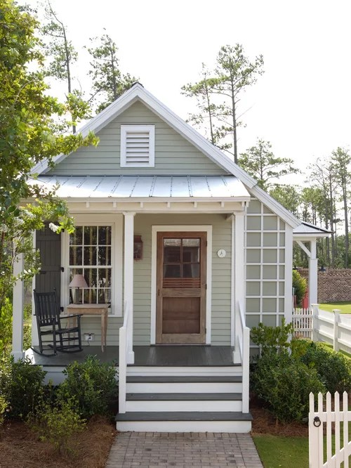 Inspiration For A Small Farmhouse Gray One Story Exterior Home Remodel In Atlanta