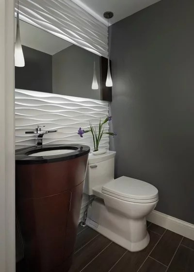 Contemporary Powder Room by Xstyles Bath + More, Inc.
