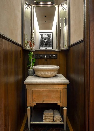 Transitional Powder Room by Greenauer Design Group