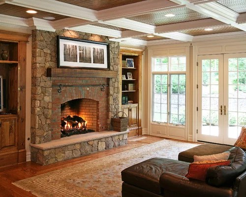 Fireplaces And Mixed Stone Brick