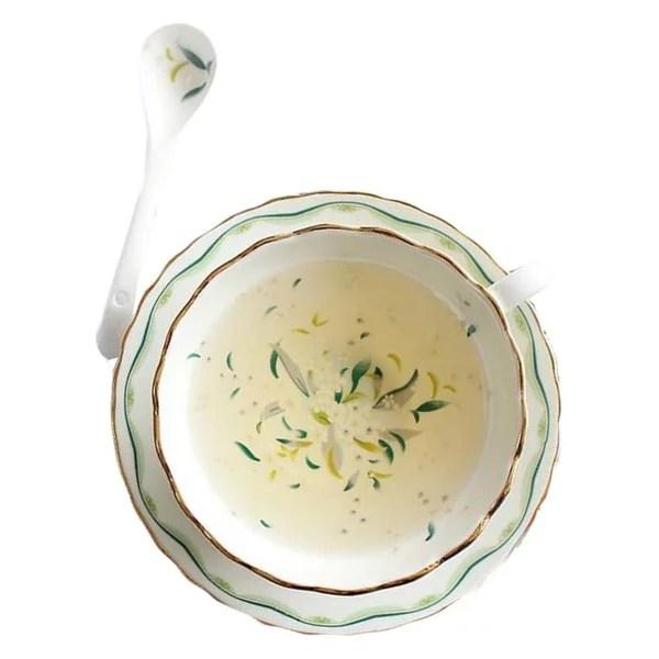 Afternoon Tea Ceramic Tea Cup Scented Tea Cup Tea Cup and Saucer Set Spoon 5.4Oz