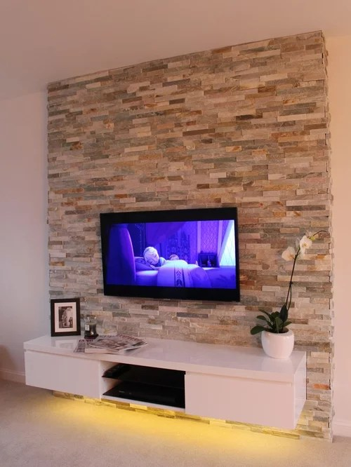Split Face TV Feature Wall