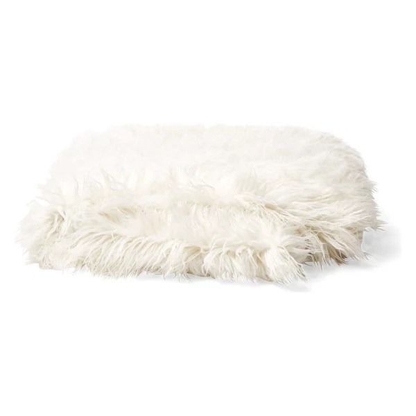 Lux Faux Fur Throw in Mongolian Cream