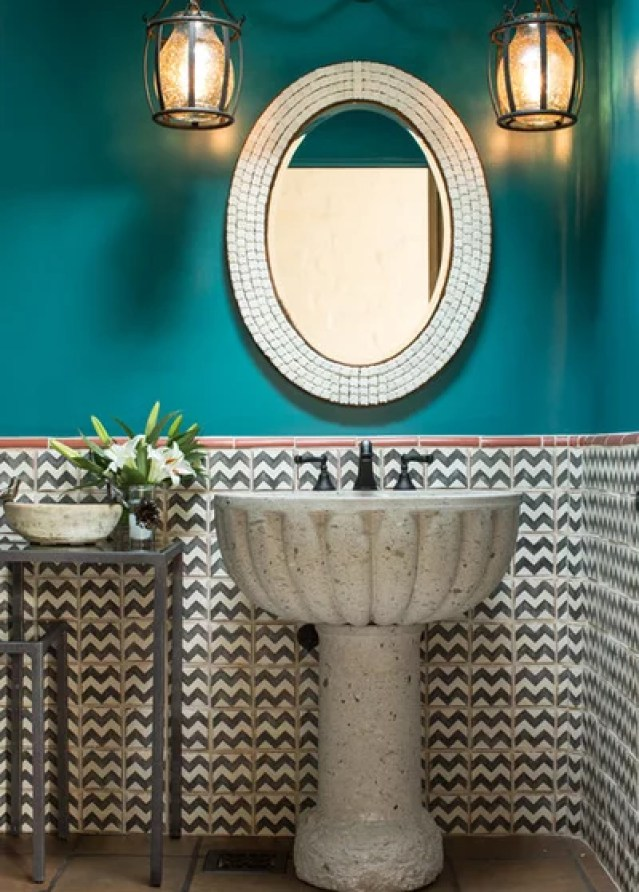 Southwestern Powder Room by Chandler Prewitt Interior Design