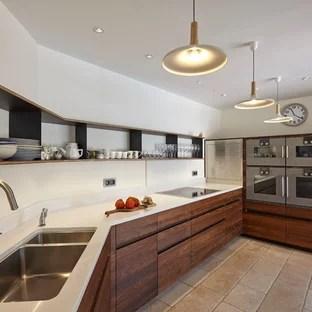 realisation d une grande cuisine design en l fermee avec un evier 2 bacs