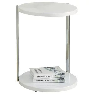 coffee table glossy white with chrome